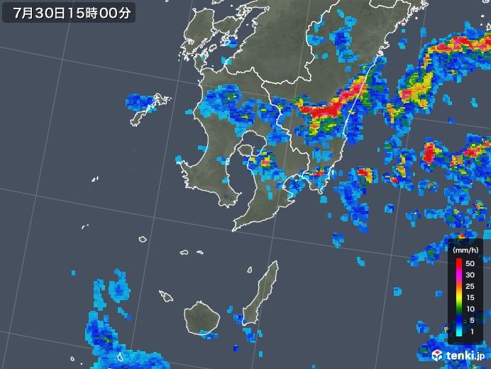 鹿児島県の雨雲レーダー(2018年07月30日)