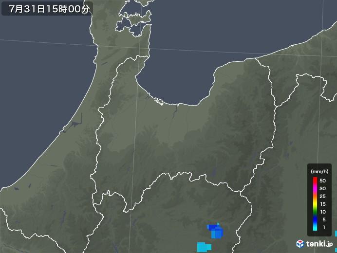 富山県の雨雲レーダー(2018年07月31日)
