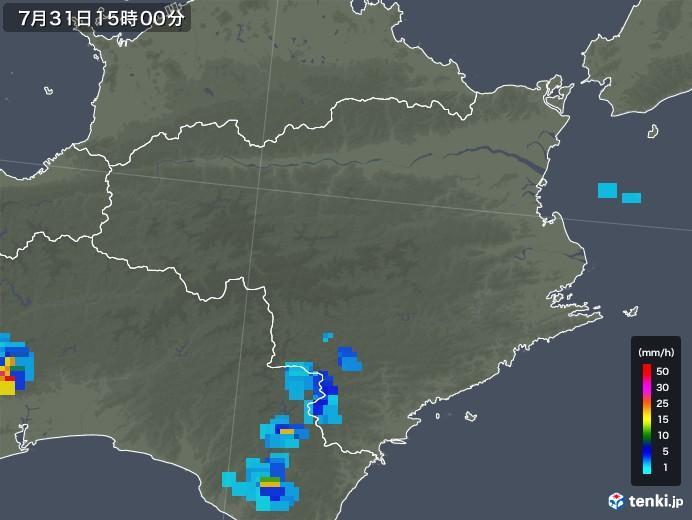 徳島県の雨雲レーダー(2018年07月31日)