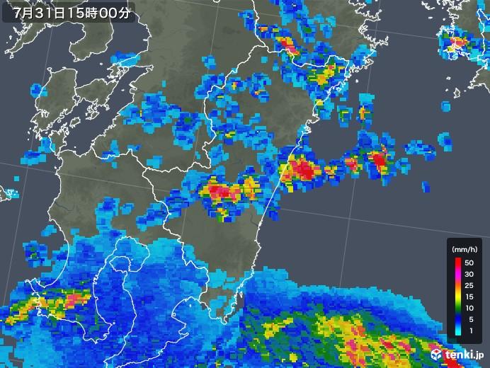 宮崎県の雨雲レーダー(2018年07月31日)