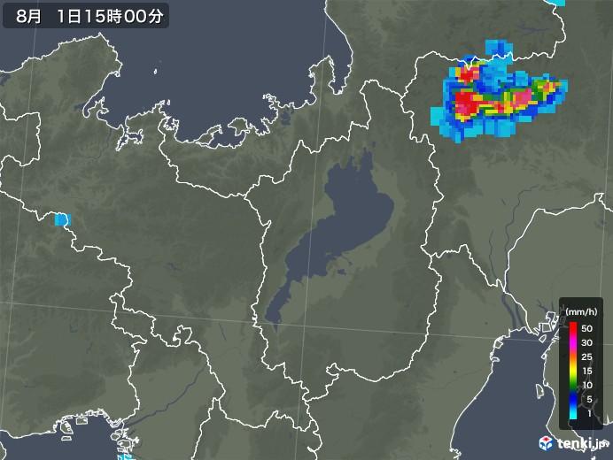 滋賀県の雨雲レーダー(2018年08月01日)