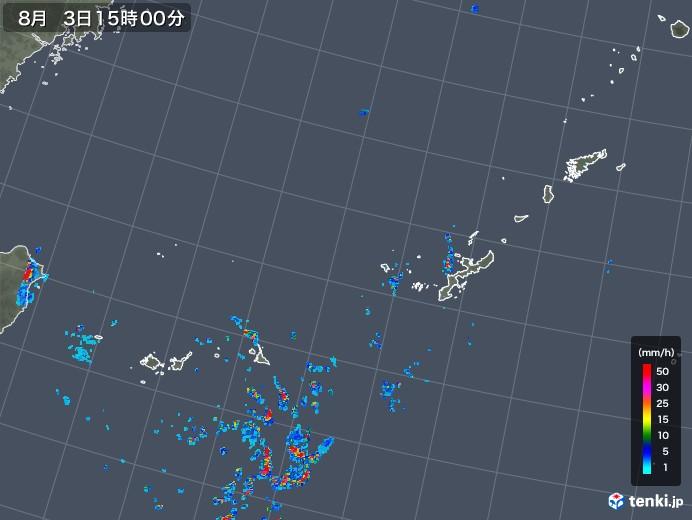 沖縄地方の雨雲レーダー(2018年08月03日)