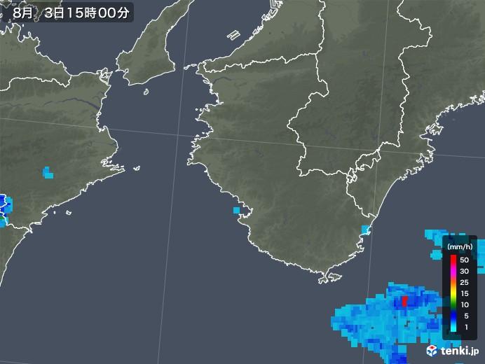 和歌山県の雨雲の動き(2018年08月03日)