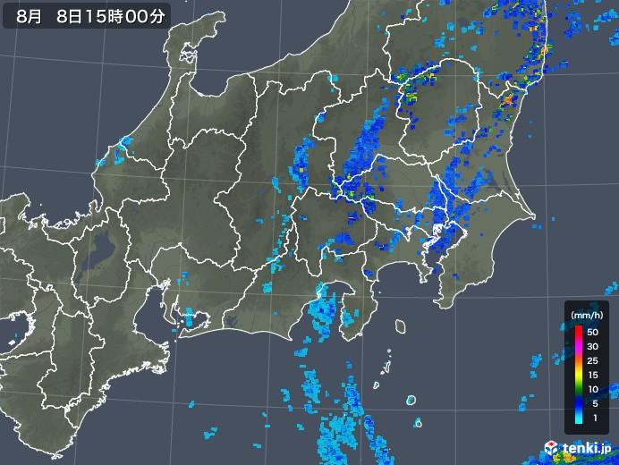 関東・甲信地方の雨雲の動き(2018年08月08日)