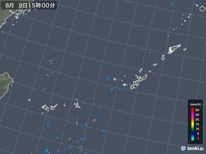 沖縄地方の雨雲レーダー(2018年08月09日)