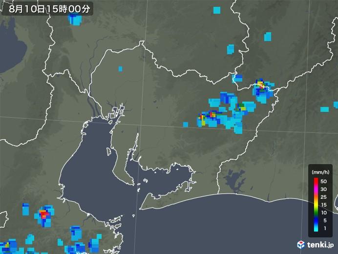 愛知県の雨雲の動き(2018年08月10日)