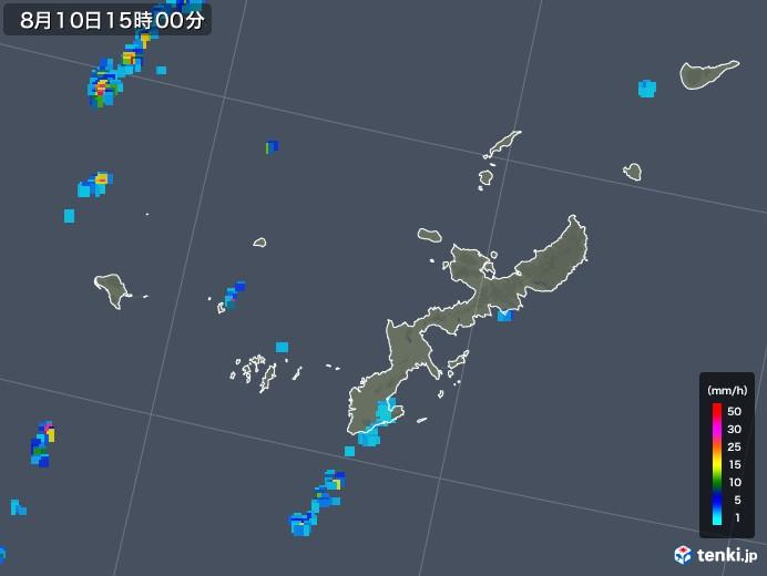 沖縄県の雨雲レーダー(2018年08月10日)