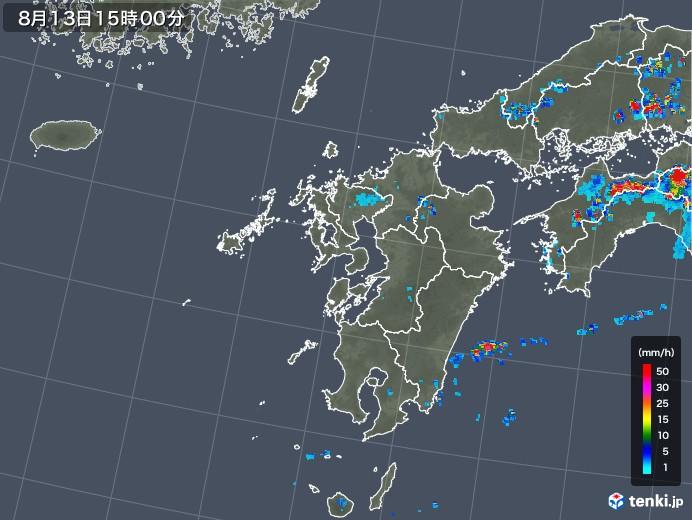九州地方の雨雲レーダー(2018年08月13日)
