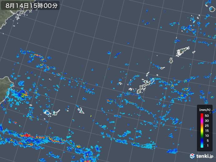 沖縄地方の雨雲レーダー(2018年08月14日)