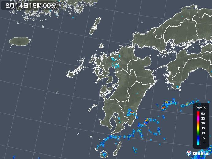 九州地方の雨雲レーダー(2018年08月14日)