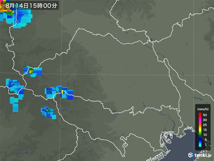 埼玉県の雨雲レーダー(2018年08月14日)