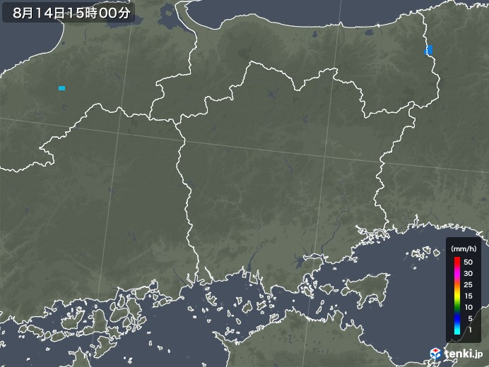 岡山県の雨雲レーダー(2018年08月14日)