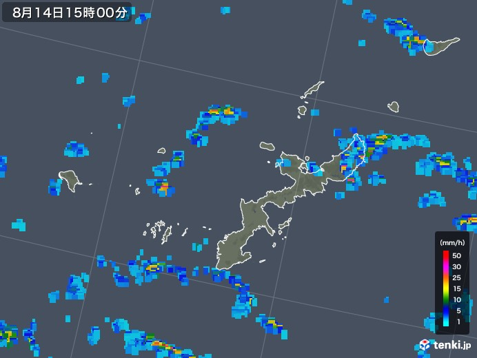 沖縄県の雨雲レーダー(2018年08月14日)