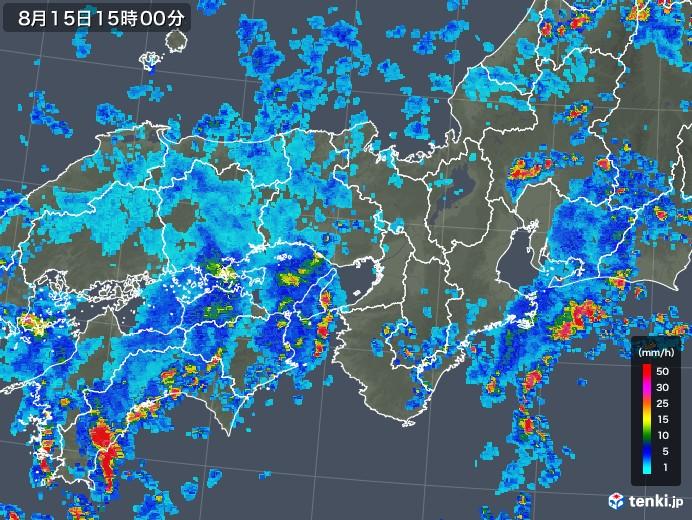 近畿地方の雨雲レーダー(2018年08月15日)