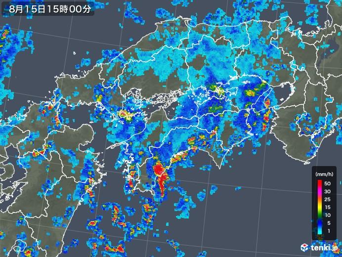 四国地方の雨雲レーダー(2018年08月15日)
