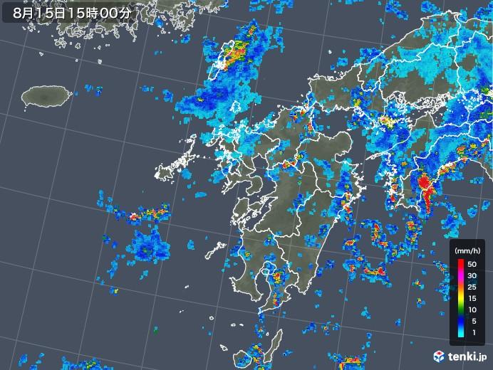 九州地方の雨雲レーダー(2018年08月15日)