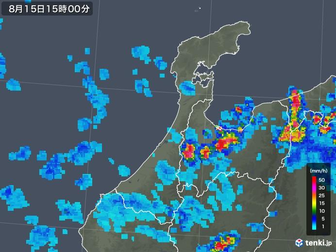 石川県の雨雲レーダー(2018年08月15日)