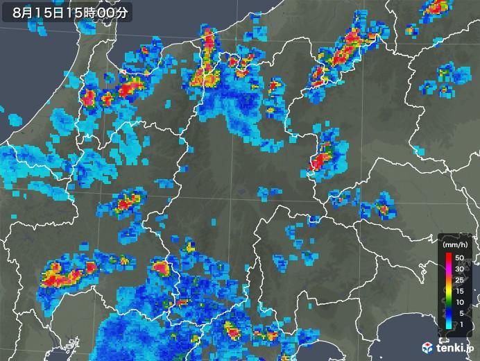 長野県の雨雲レーダー(2018年08月15日)