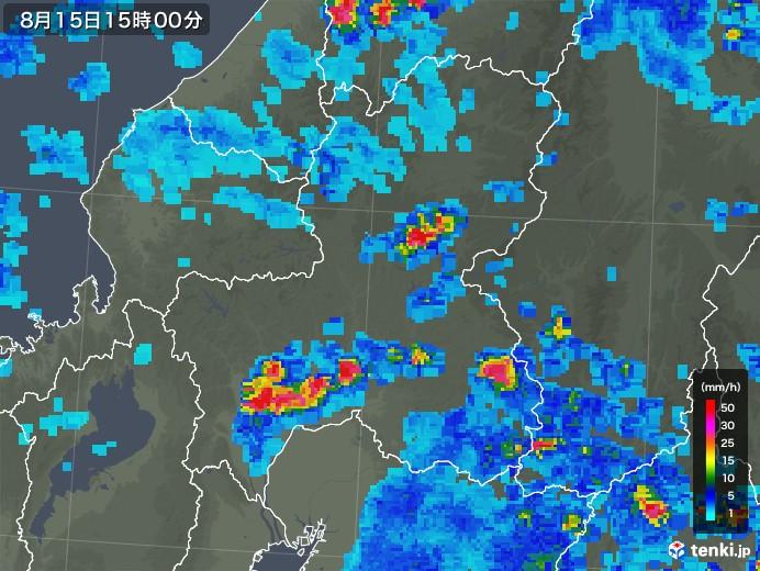 岐阜県の雨雲レーダー(2018年08月15日)