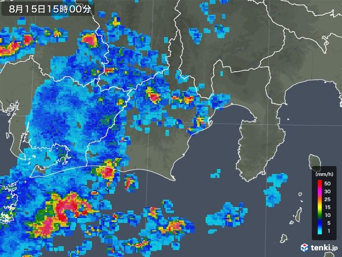 静岡県の雨雲レーダー(2018年08月15日)