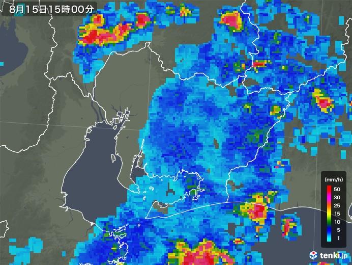 愛知県の雨雲レーダー(2018年08月15日)