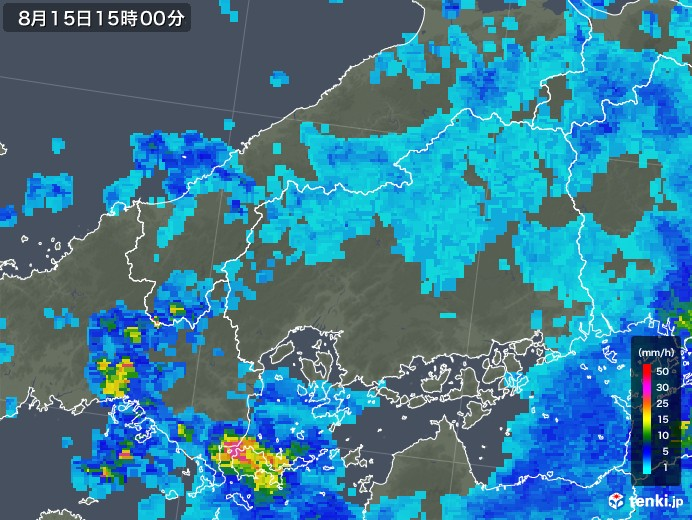 広島県の雨雲レーダー(2018年08月15日)