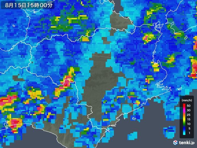 徳島県の雨雲レーダー(2018年08月15日)