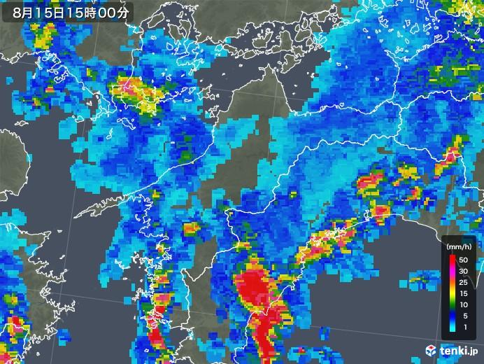 愛媛県の雨雲レーダー(2018年08月15日)