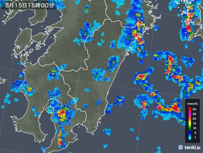 宮崎県の雨雲レーダー(2018年08月15日)