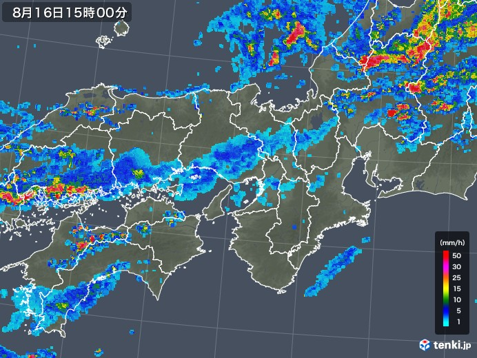 近畿地方の雨雲レーダー(2018年08月16日)