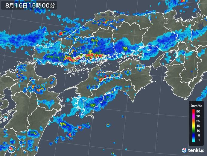 四国地方の雨雲レーダー(2018年08月16日)