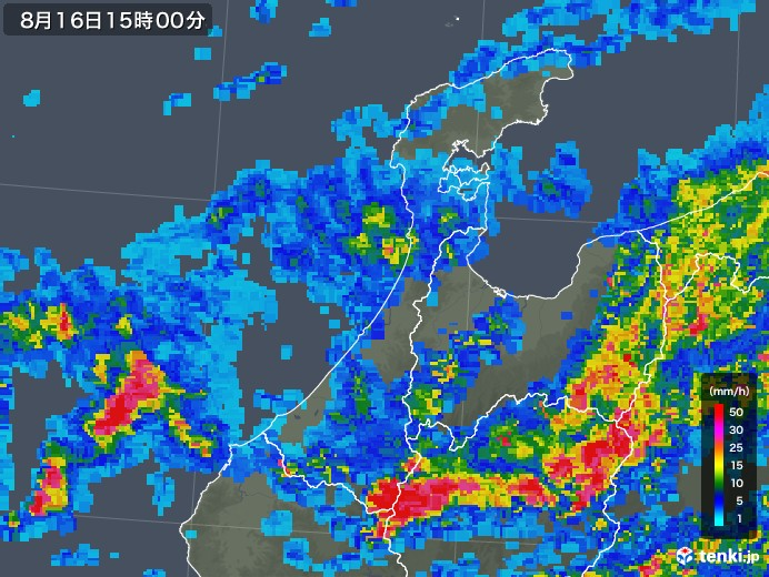 石川県の雨雲レーダー(2018年08月16日)