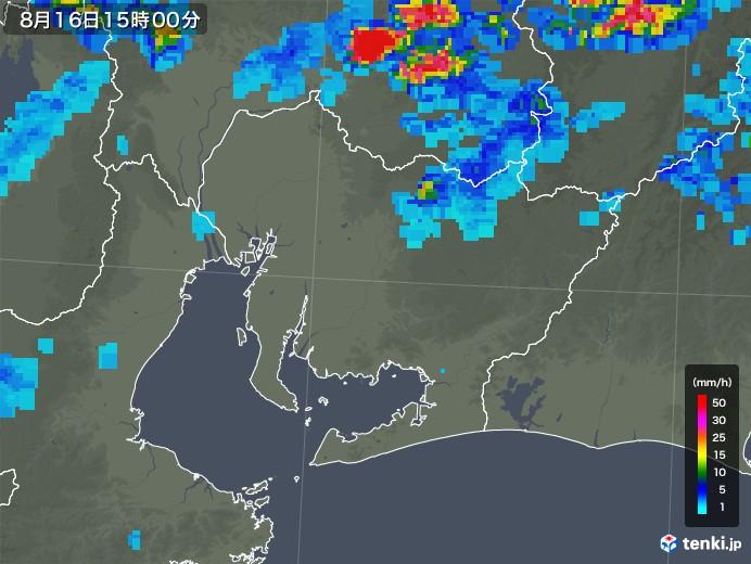 愛知県の雨雲レーダー(2018年08月16日)