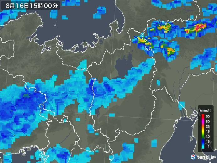 滋賀県の雨雲レーダー(2018年08月16日)
