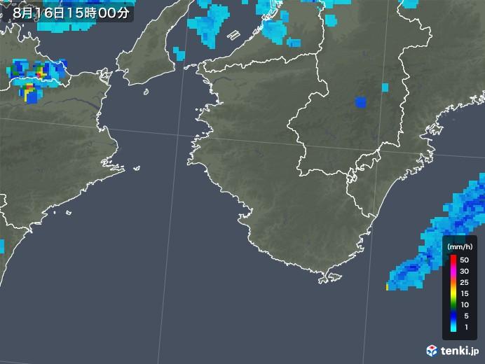 和歌山県の雨雲レーダー(2018年08月16日)
