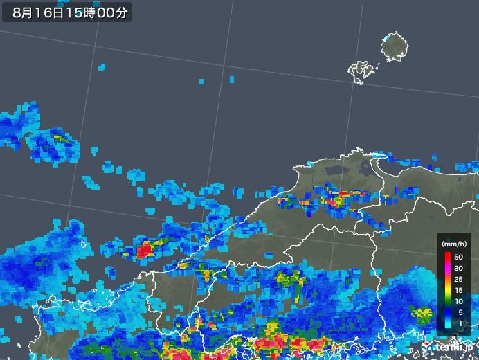 島根県の雨雲レーダー(2018年08月16日)