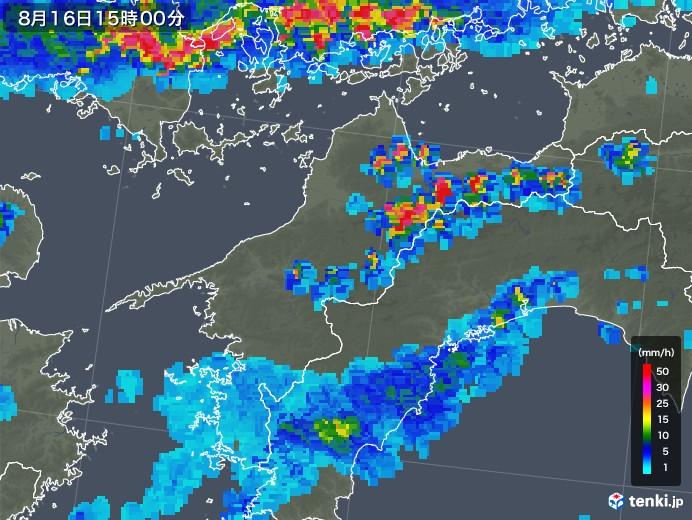 愛媛県の雨雲レーダー(2018年08月16日)