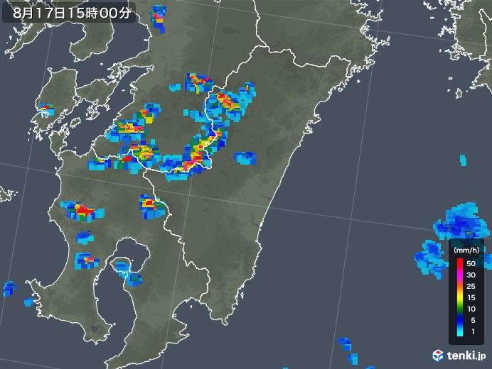 宮崎県の雨雲の動き(2018年08月17日)