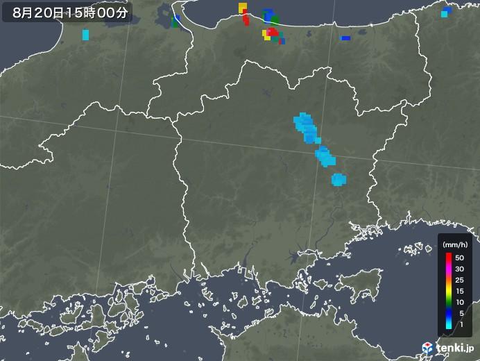 岡山県の雨雲レーダー(2018年08月20日)