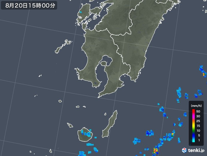 鹿児島県の雨雲レーダー(2018年08月20日)