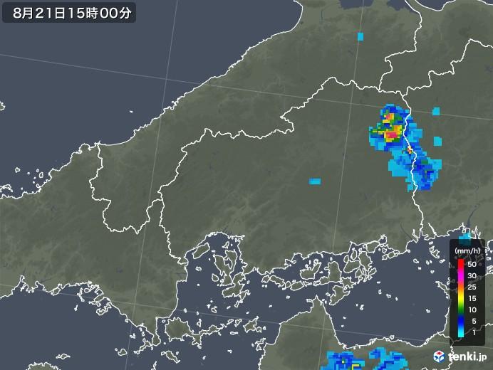 広島県の雨雲レーダー(2018年08月21日)