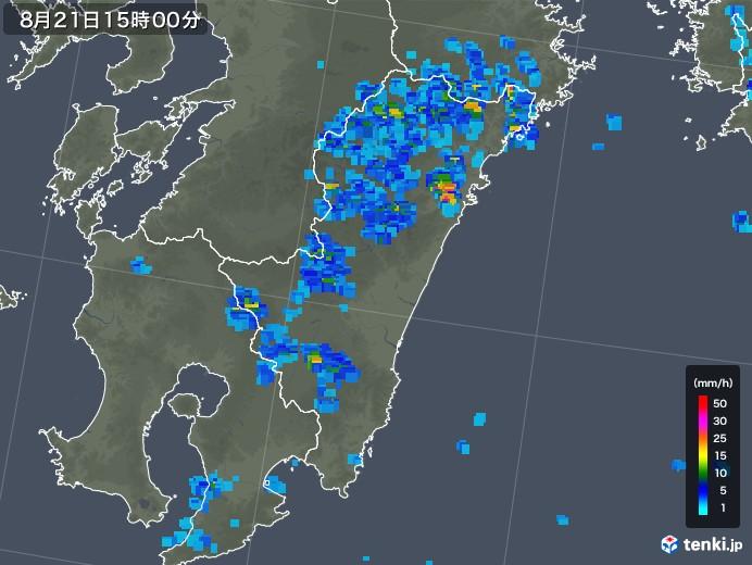 宮崎県の雨雲レーダー(2018年08月21日)