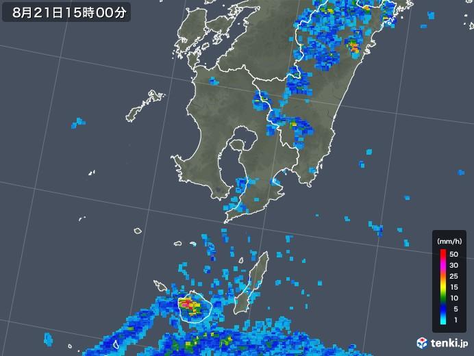 鹿児島県の雨雲レーダー(2018年08月21日)
