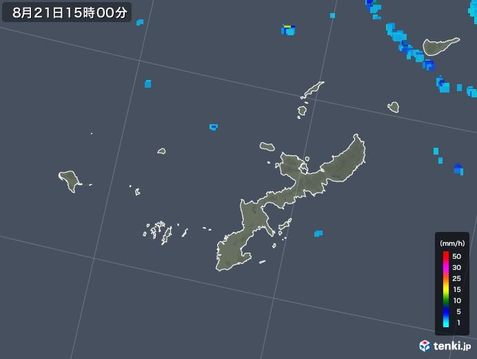 沖縄県の雨雲レーダー(2018年08月21日)