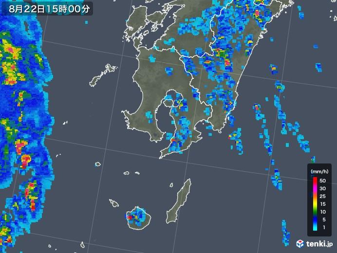 鹿児島県の雨雲レーダー(2018年08月22日)