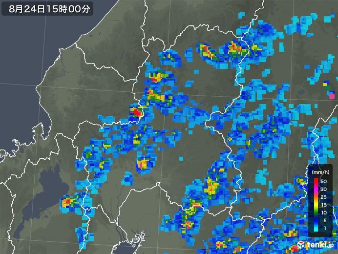 岐阜県の雨雲レーダー(2018年08月24日)