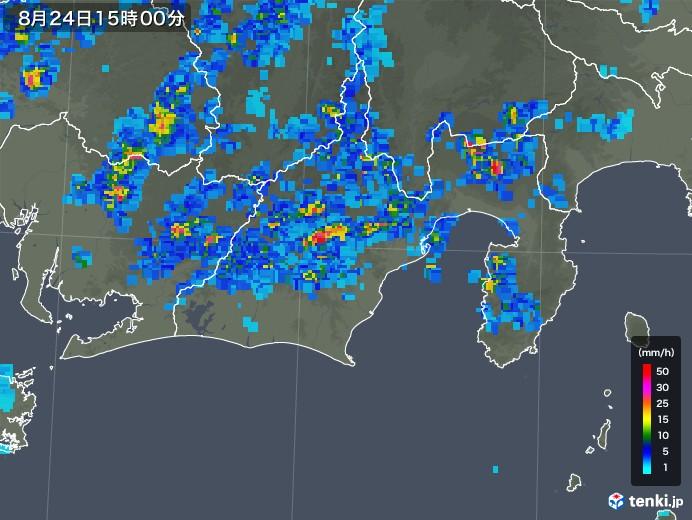 静岡県の雨雲レーダー(2018年08月24日)