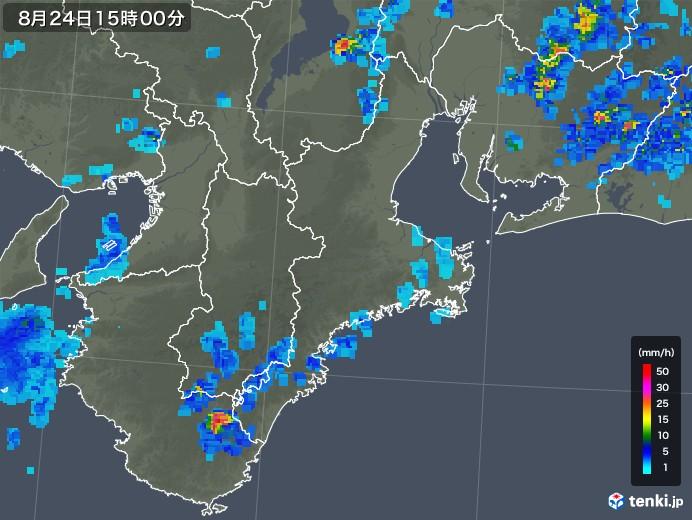 三重県の雨雲レーダー(2018年08月24日)