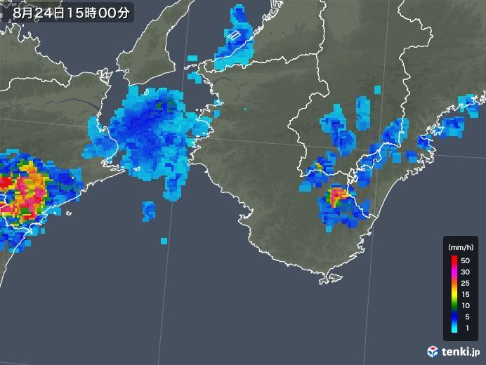 和歌山県の雨雲レーダー(2018年08月24日)