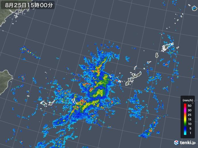 沖縄地方の雨雲レーダー(2018年08月25日)